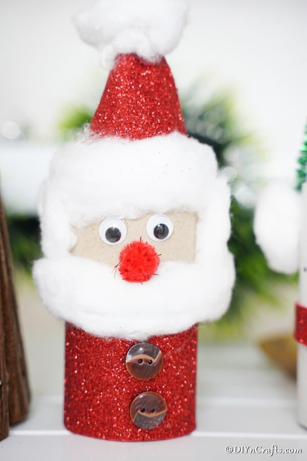 Up close picture of a santa toilet paper roll on display