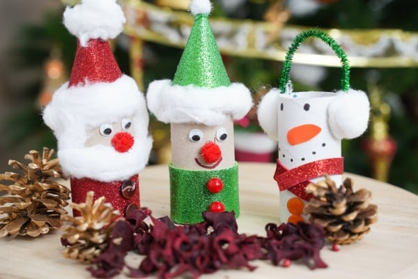 Classic Toilet Paper Roll Santa, Snowman, and Elf Kids Craft