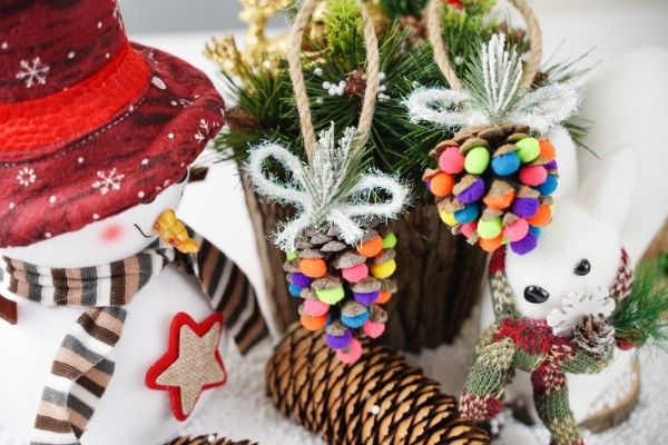 Colorful Christmas Pinecone Ornaments