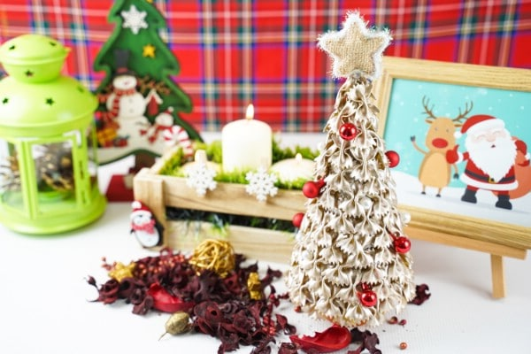 DIY Miniature Pasta Christmas Tree Decoration