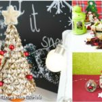 A small collage of making a christmas tree from pasta