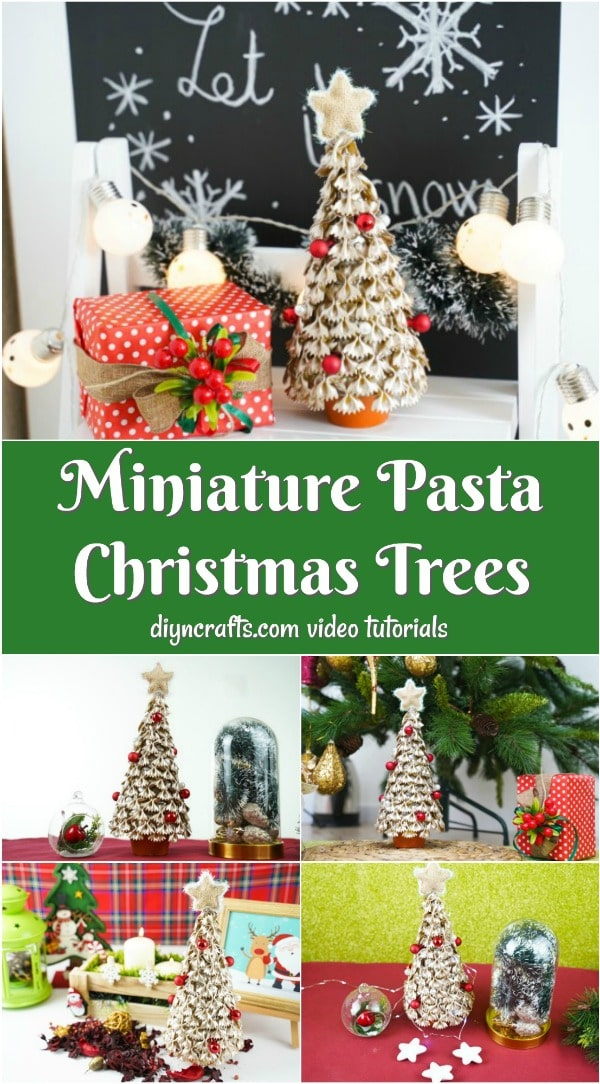 Collage image of a mini Christmas tree from pasta