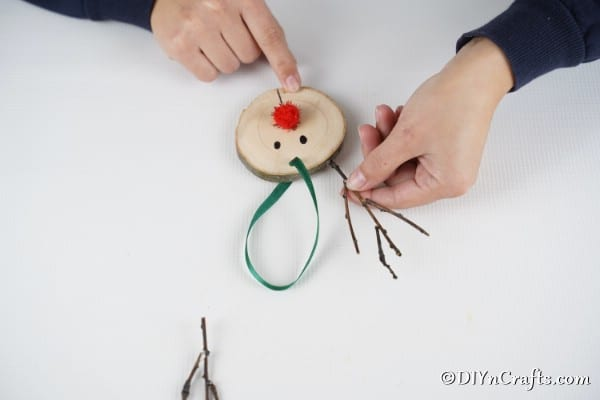 Adding horns to the reindeer ornament