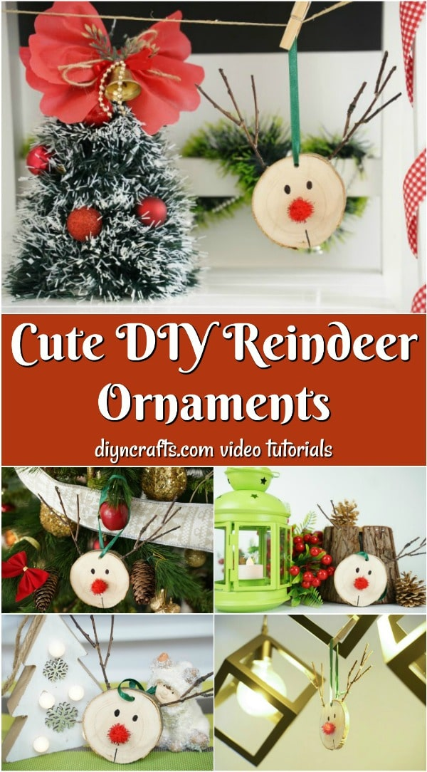 A collage image of DIY rudolf reindeer ornaments
