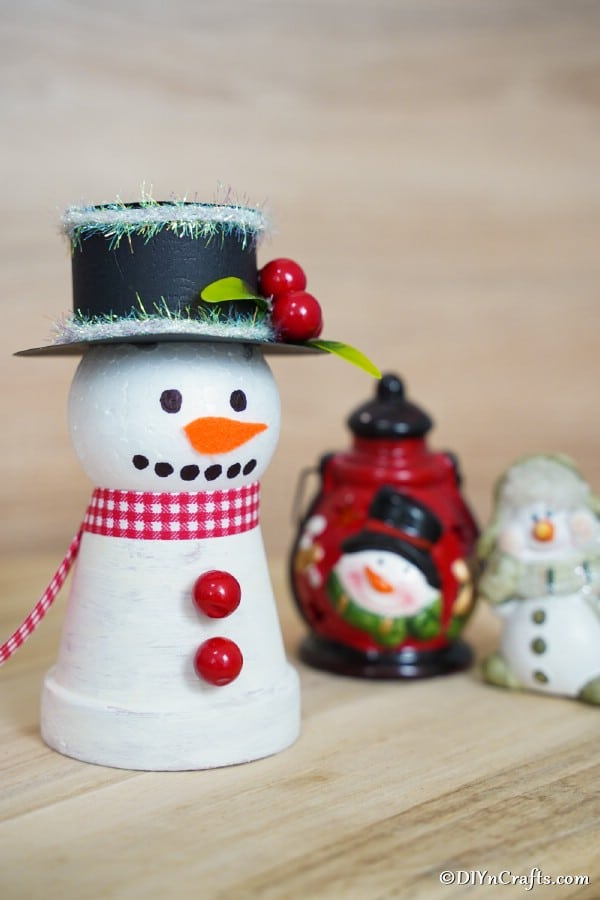Up close picture of painted clay pot snowman decor
