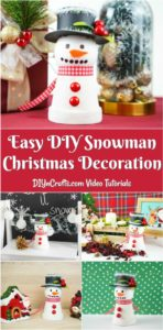 Collage of displaying a snowman decor piece
