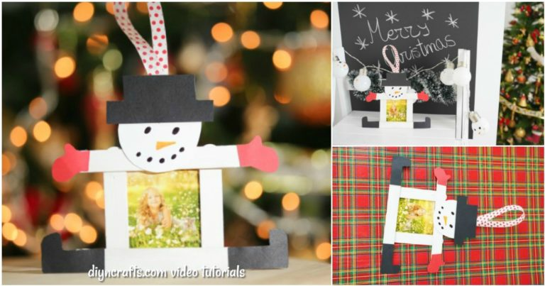 A small collage of making a snowman craft stick ornament