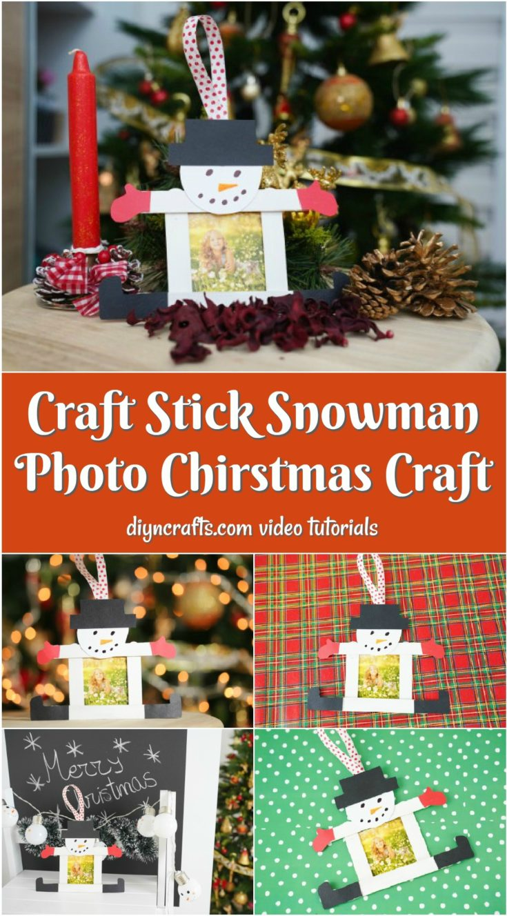 Large collage image of making a craft stick snowman