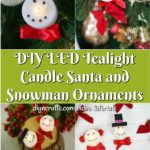 DIY Santa and Snowman Christmas Candles tutorial collage