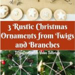 Collage image of a star snowflake and tree rustic Chrsitmas ornaments made from twigs