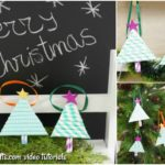 Small collage picture showing paper Christmas tree ornaments being displayed on a mantle and tree