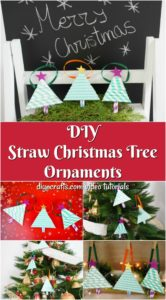 A collage image of paper Christmas trees hanging up made from paper straws
