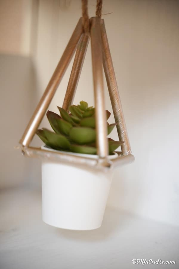Paper straw succulent planter hanging against a white wall
