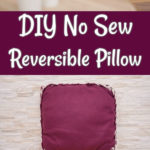 Collage of no sew pillow