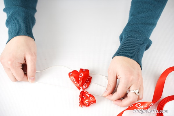 Creating bow from Valentine ribbon
