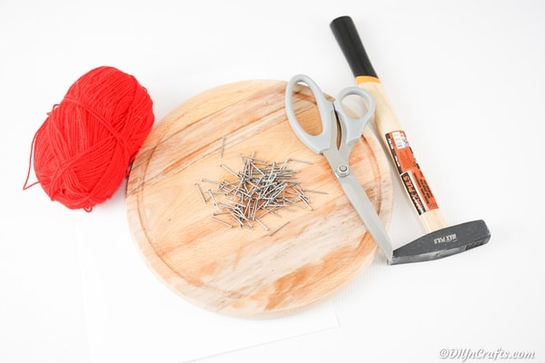 Supplies for wooden heart string art