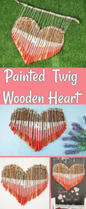 Collage for painted wooden heart decoraiton
