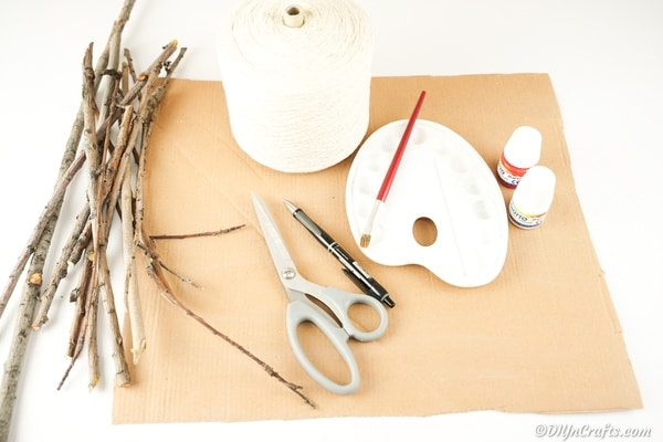 Supplies for making wooden heart decoration