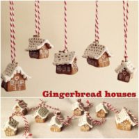 Miniature 'gingerbread' house decorations for the Christmas tree (non-edible)