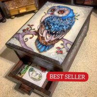 PERSONALIZED Majestic Owl Jewelry Box with Mirror & Drawer