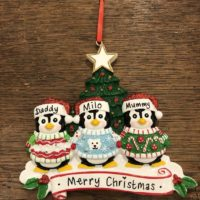 Personalised Penguin Hanging Christmas Decoration