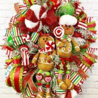 Gingerbread Wreath, Christmas Decor, Gingerbread Man Decor, Peppermint Christmas