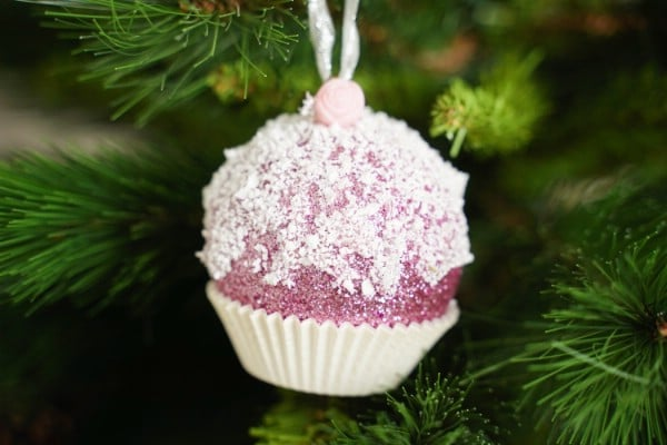 Sparkly DIY Cupcake or Muffin Ornament Craft