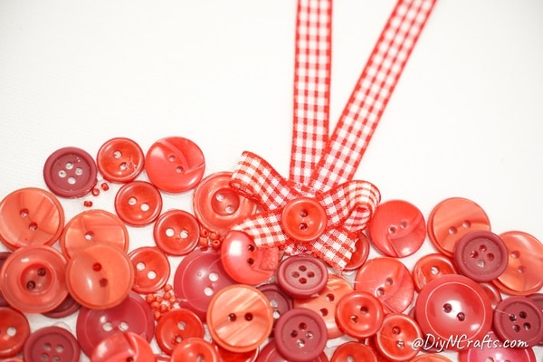 Top edge of button heart Valentine decoration