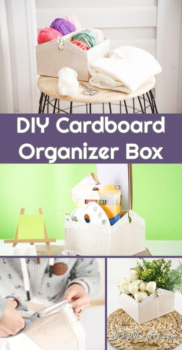 Cardboard box organizer collage
