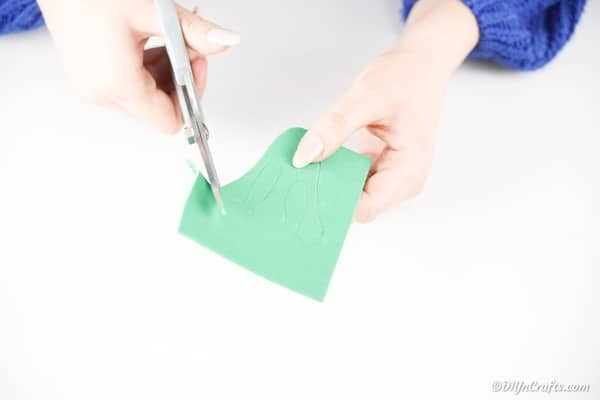 Cutting frog feet out of foam paper