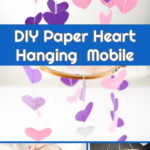 Collage of paper heart mobile displays