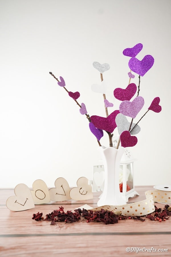 heart flower bouquet on table
