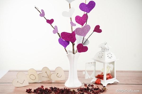 Glittery Valentine's Heart Flower Bouquet