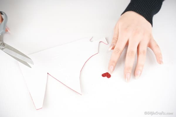 Cutting out heart shape from foam paper