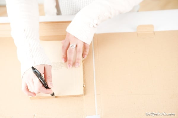 Tracing book size on cardboard