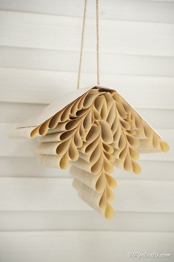 Rustic Hanging Paper Fern Made from Book Pages