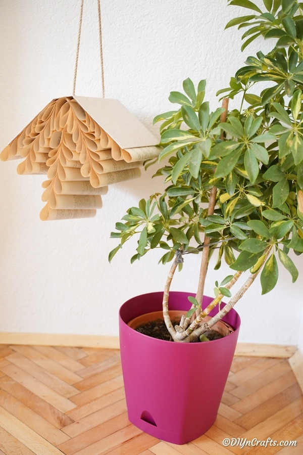 Hanging book decoration by potted plan