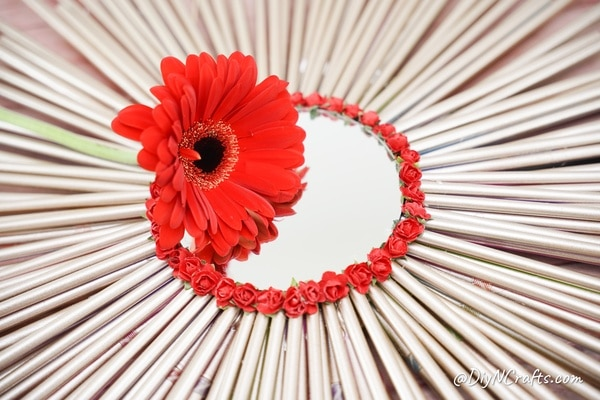 Paper straw mirror with red flower