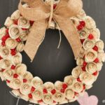 Quilled rose wreath against chalkboard