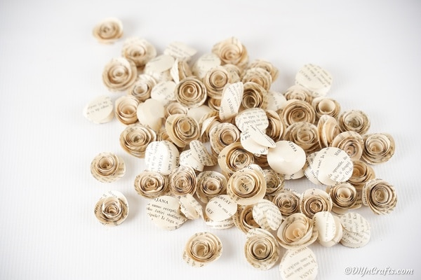 A surface covered in paper roses