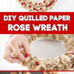 Collage paper heart wreath