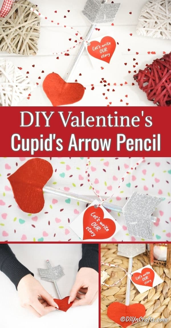 Collage of cupid's arrow pencil