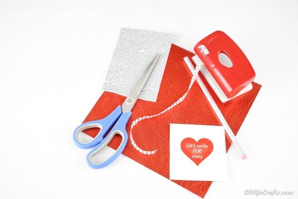 Supplies for cupid arrow pencil
