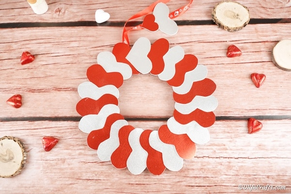 Glittery Valentine's Day Paper Heart Wreath