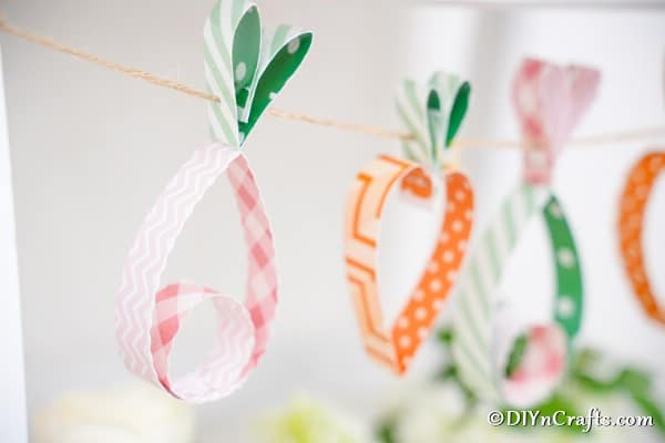 Easter garland hanging in front of wall