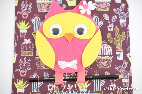 Owl Message Holder against colorful background