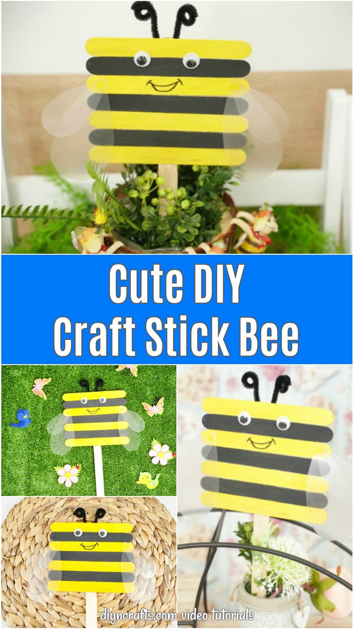 Craft stick bee collage