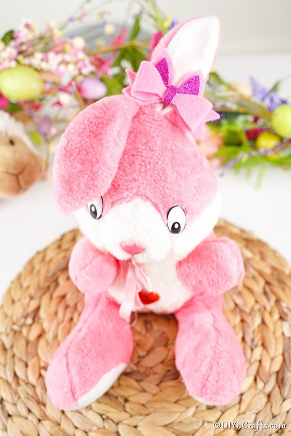 No sew hairbow on stuffed rabbit