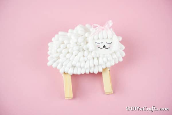 Lamb craft on pink paper