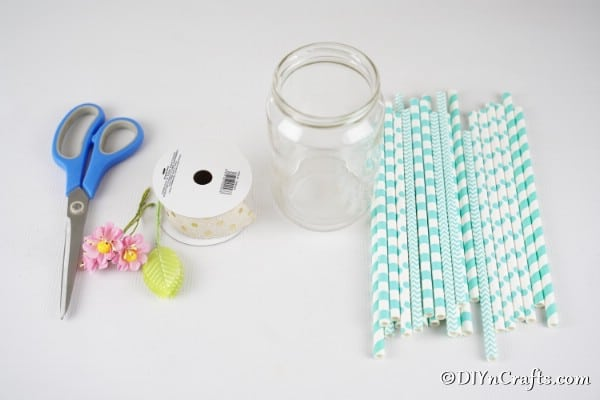 Supplies for mason jar vase